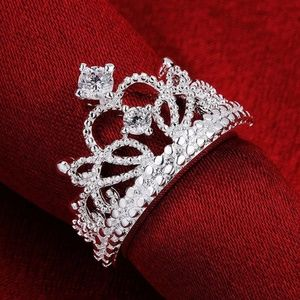 Silver womens CROWN RING QUEEN